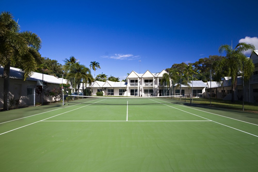 Resort living with tennis court