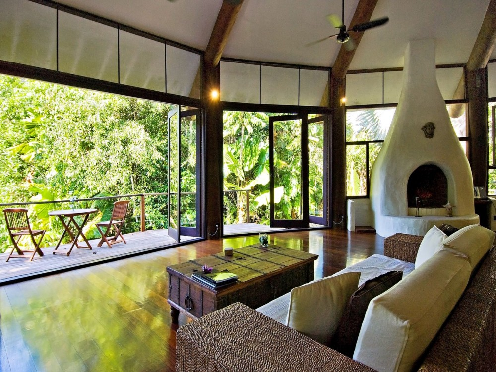 Fireplace and terrace to the outdoors