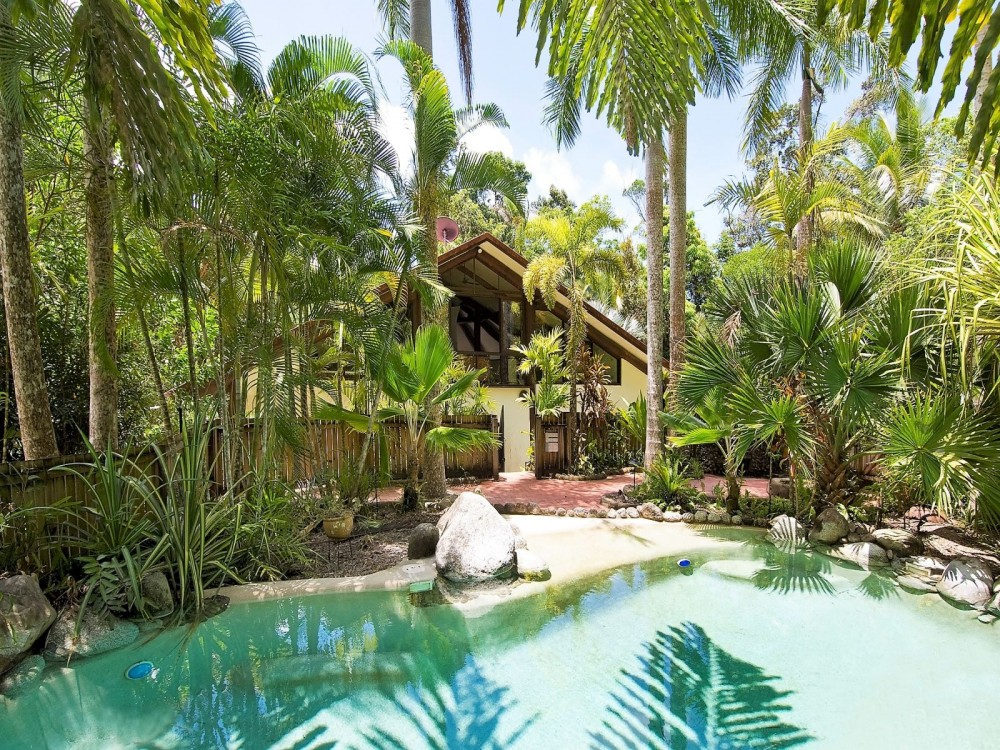 Swimming pool and tropical gardens are highlights